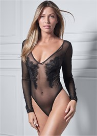 Cropped front view Sheer Long Sleeve Bodysuit