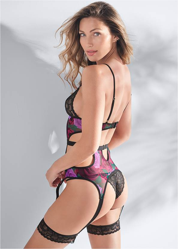 Cropped back view Floral Print Sexy Set