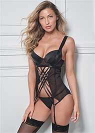 Cropped front view Strappy Garter W/ Panty Set