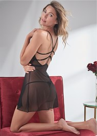 Cropped back view Strappy Sheer Babydoll