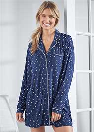 Cropped front view Button Down Sleepshirt