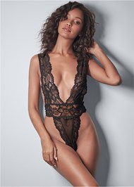 Cropped front view Lace Plunge Bodysuit