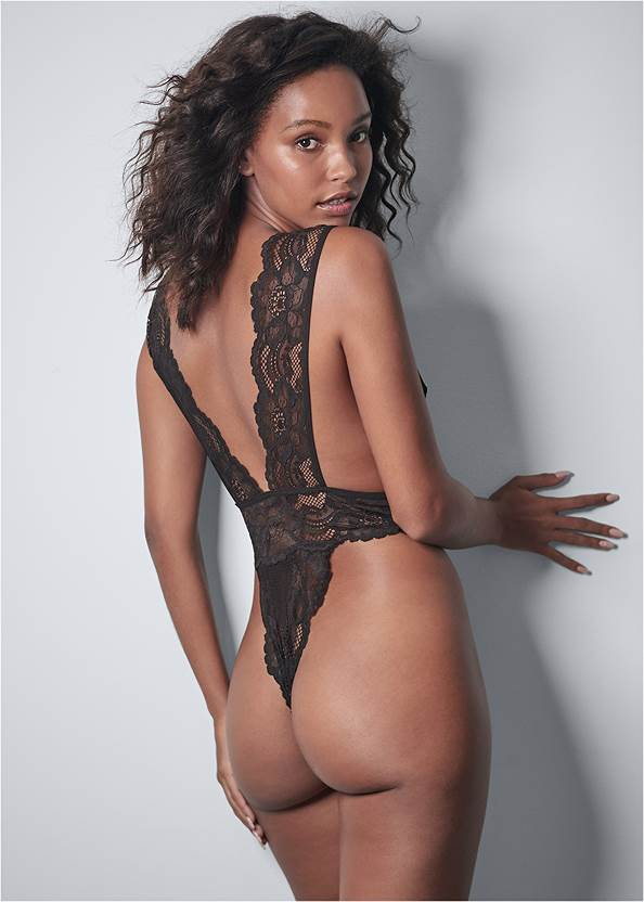 Cropped back view Lace Plunge Bodysuit