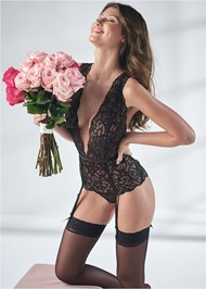 Cropped front view Plunge Lace Bodysuit