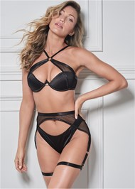 Cropped front view Fishnet And Satin Bra Set