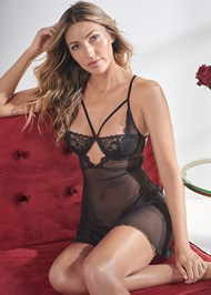 Cropped front view Strappy Sheer Babydoll