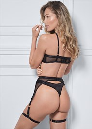 Cropped back view Fishnet And Satin Bra Set