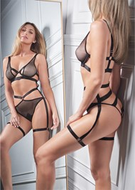 Cropped front view Strappy Fishnet Bodysuit