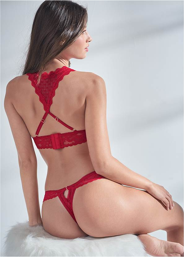 Cropped back view Heart And Lace Bralette Set