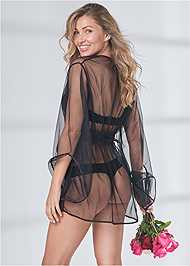 Cropped back view Short Robe W/ Wide Sleeves
