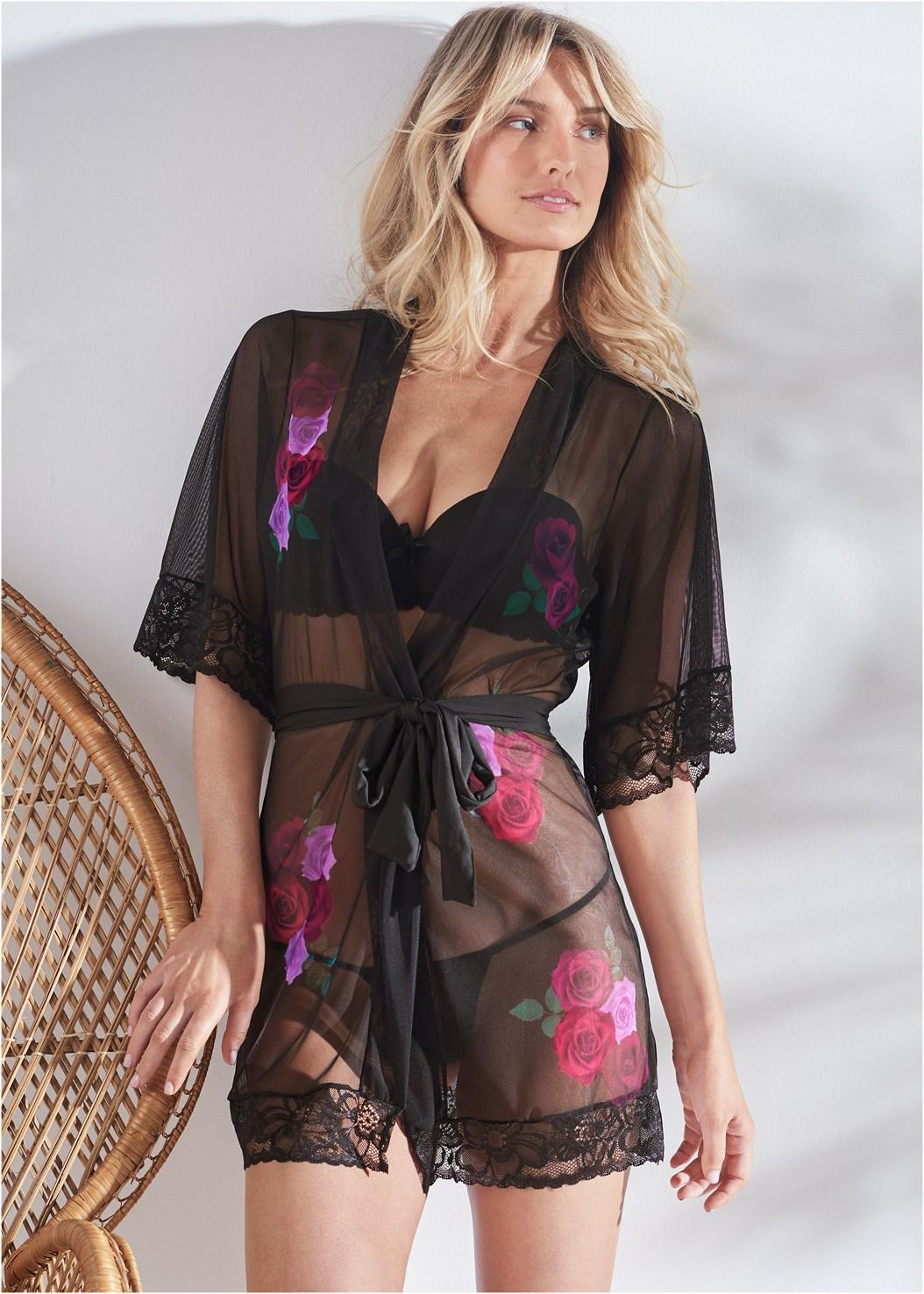 Floral Print Sheer Robe