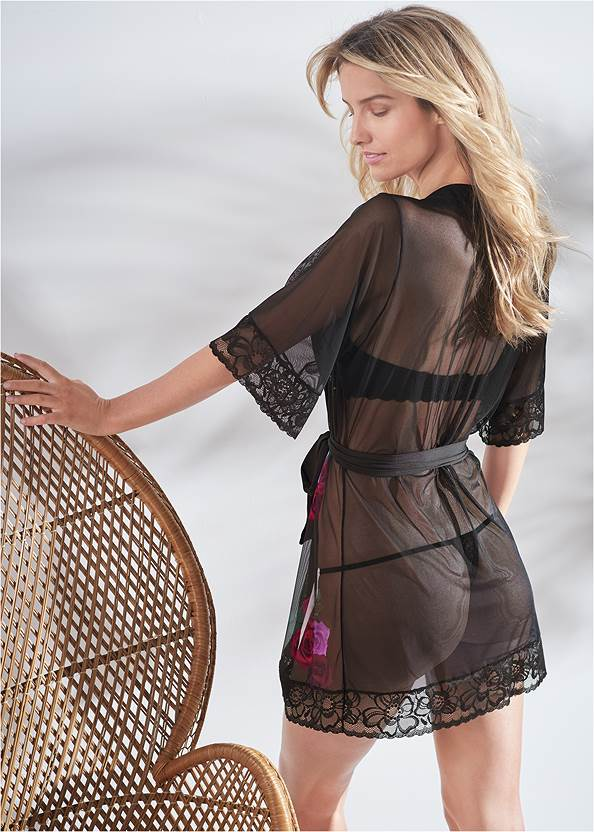 Cropped back view Floral Print Sheer Robe