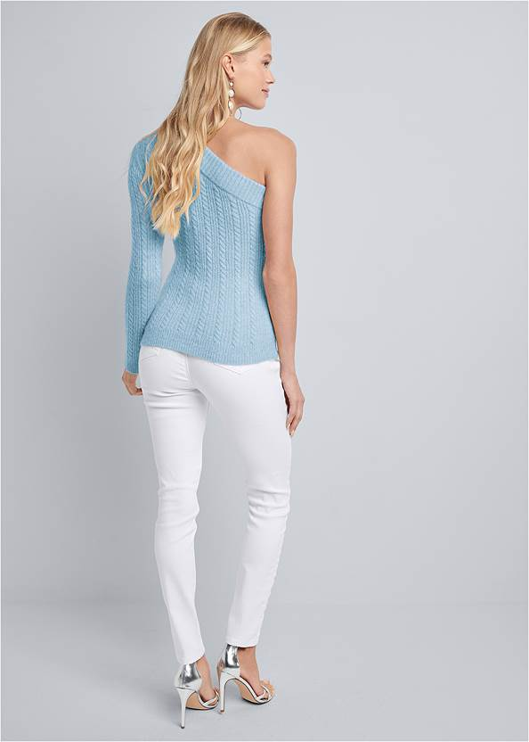 Alternate View One Shoulder Cable Knit Sweater