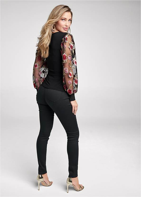 Back View Embroidered Sleeve Top