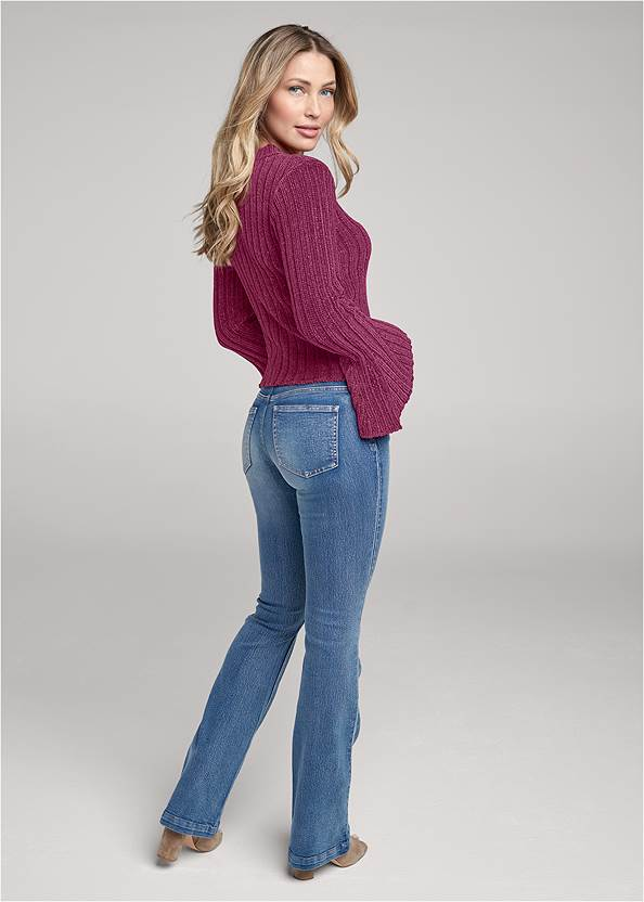 Back View Chenille Bell Sleeve Sweater
