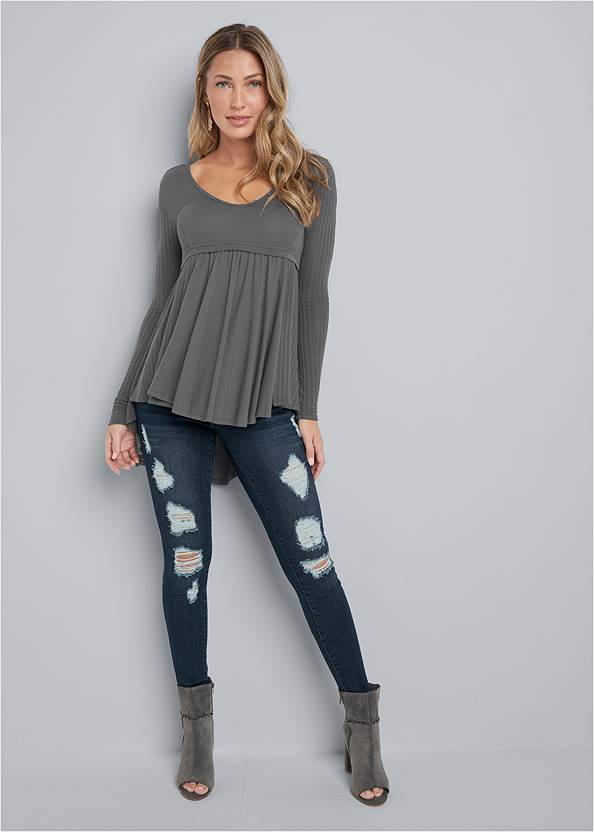 Alternate View High Low Ribbed Casual Top