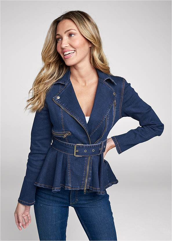 Ruffle Hem Jean Jacket,Basic Cami Two Pack,Mid Rise Color Skinny Jeans,Western Buckle Wrap Boots,Boho Chandelier Earrings,Studded Round Crossbody