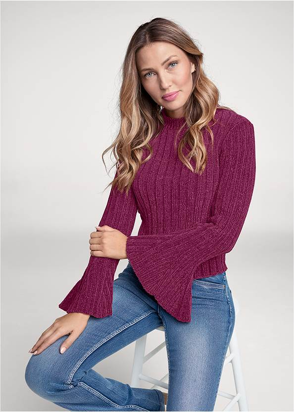 Chenille Bell Sleeve Sweater,Casual Bootcut Jeans,Bum Lifter Jeans,Whipstitch Peep Toe Booties,Beaded Thread Hoop Earrings,Twist Handle Satchel Bag