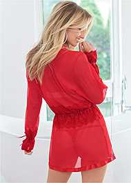 Cropped back view Sheer Robe W/ Lace Detail