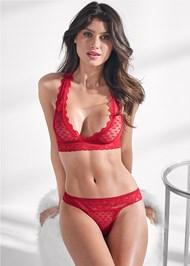 Cropped front view Heart And Lace Bralette Set