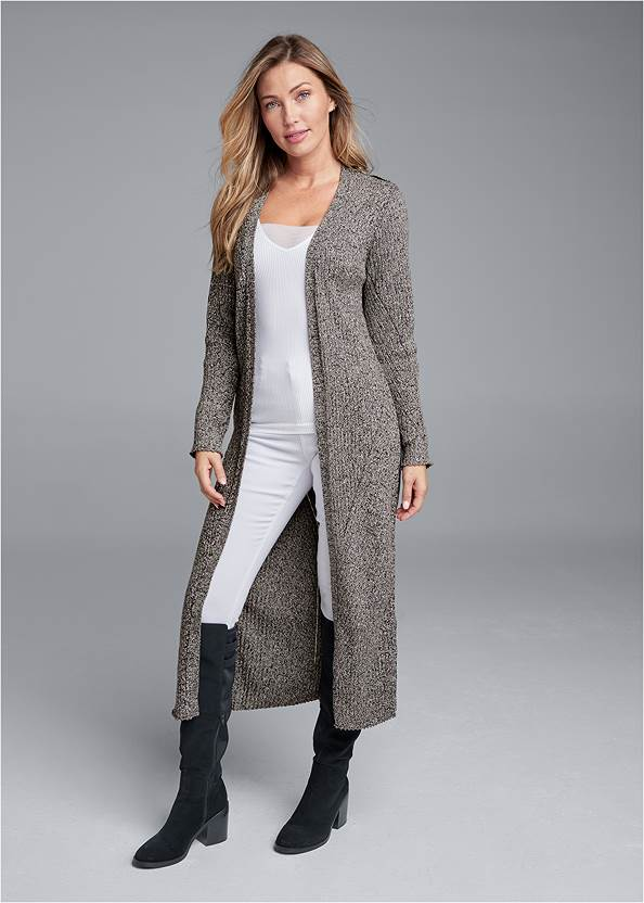 Devka Marled Cozy Duster,Ribbed Mesh Seamless Top,Bum Lifter Jeans,Floral Embroidered Skinny Jeans,Back Lace Up Flat Boots,Studded Faux Leather Tote