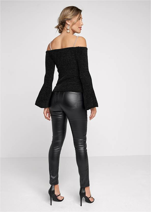 Alternate View Off-Shoulder Pearl Strap Chenille Sweater