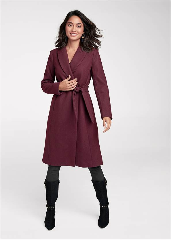Front View Belted Faux Wool Coat