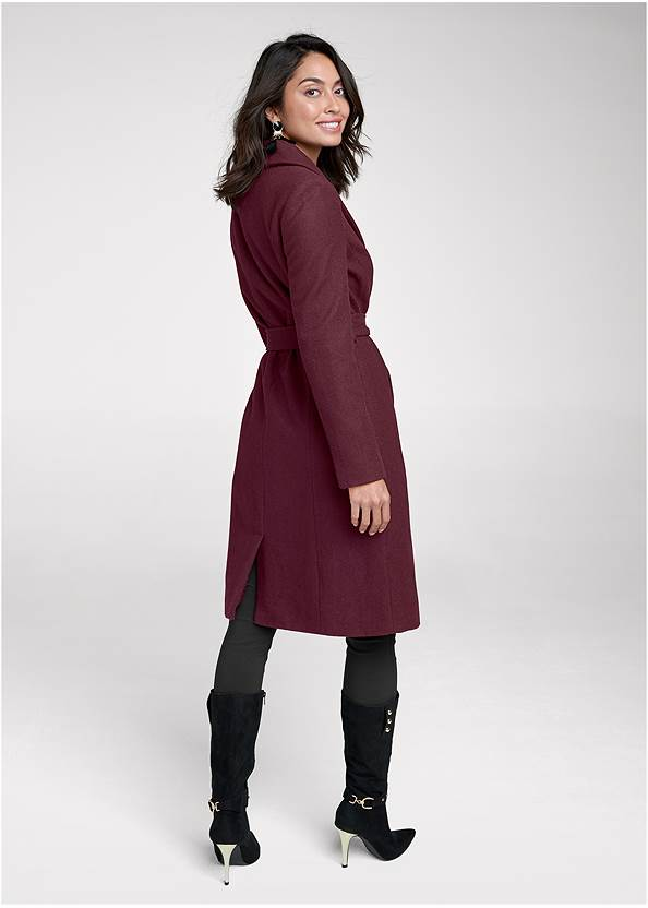 Back View Belted Faux Wool Coat