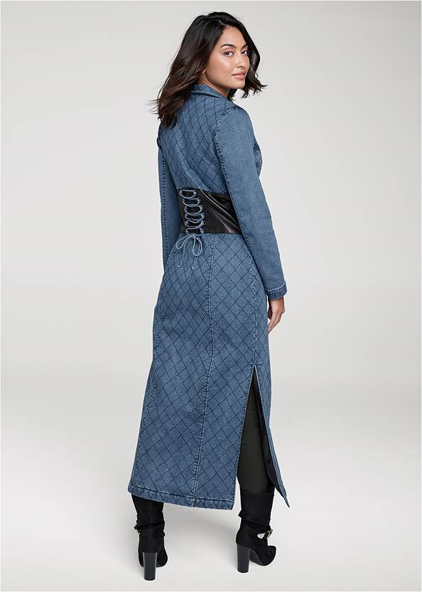 Back View Quilted Detail Jean Trench With Faux Leather