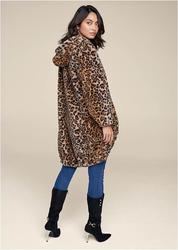 Full back view Reversible Faux Fur Anorak