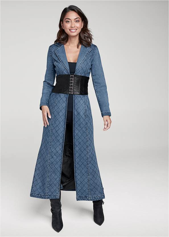 Quilted Detail Jean Trench With Faux Leather,Basic Cami Two Pack,Mid Rise Slimming Stretch Jeggings,Western Buckle Wrap Boots,Boho Chandelier Earrings,Studded Round Crossbody