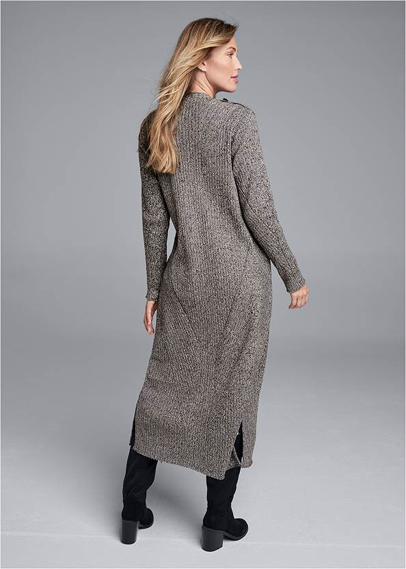 Back View Devka Marled Cozy Duster