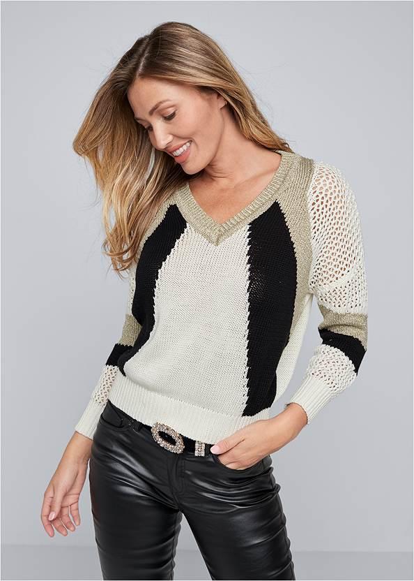 Open Knit Detail Sweater,Faux Leather Pants,Faux Leather Leggings,Pearl™ By Venus Perfect Coverage Bra,Peep Toe Booties,Raffia Bling Hoop Earrings,Twist Handle Satchel Bag