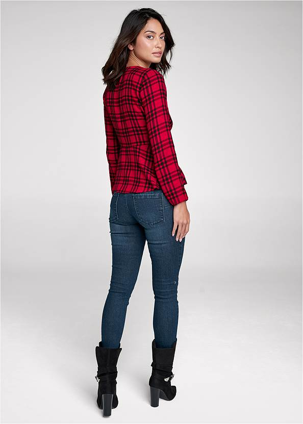 Back View Plaid Ring Detail Top