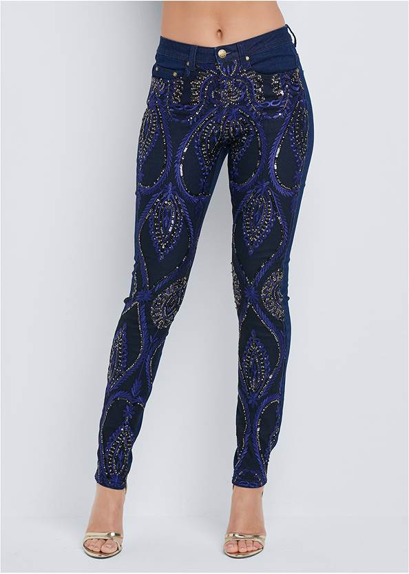 Front View Beaded Skinny Jeans
