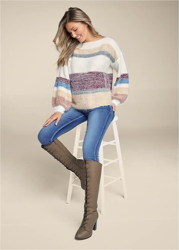 Alternate View Striped Eyelash Sweater