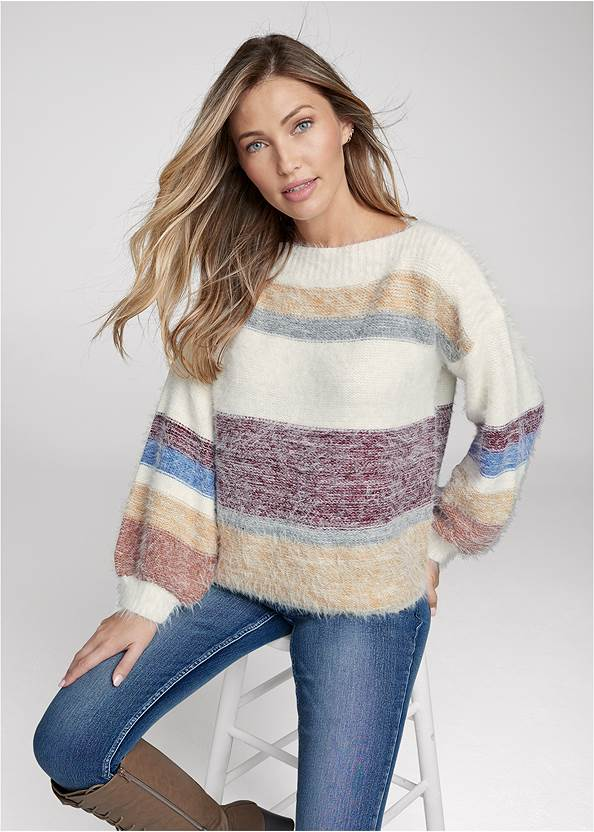 Front View Striped Eyelash Sweater