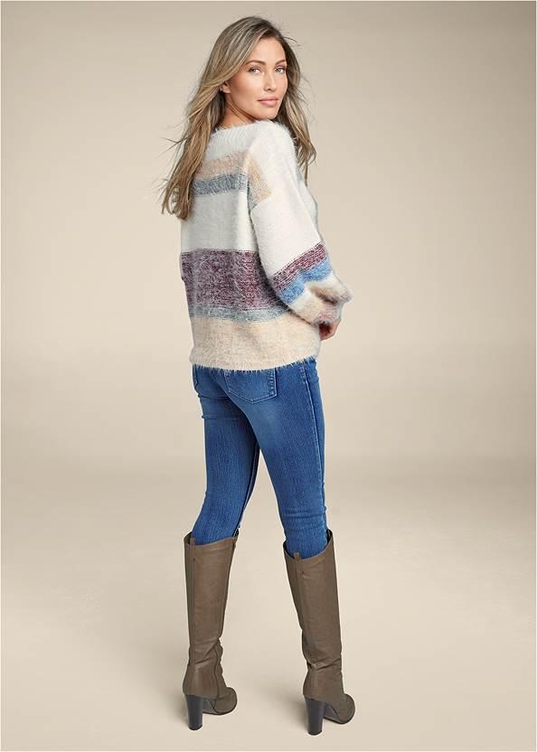 Back View Striped Eyelash Sweater