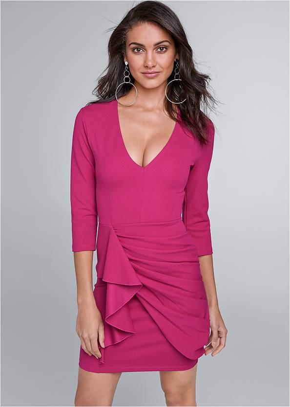 Ruffle V-Neck Mini Dress
