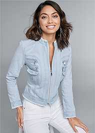 Cropped front view Cropped Denim Moto Jacket