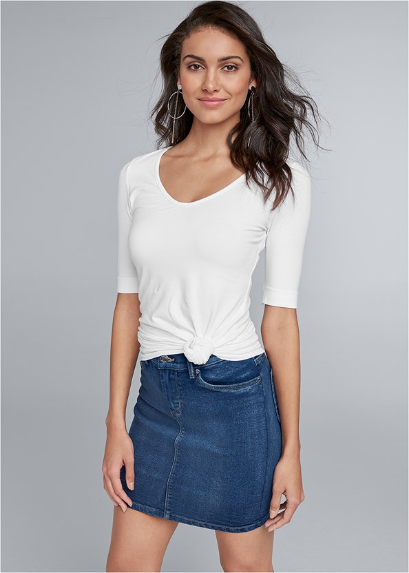 Color Mini Jean Skirt,Long And Lean V-Neck Tee,Ribbed V-Neck Top,Basic Cami Two Pack,High Heel Strappy Sandals,Wrap Stitch Detail Booties,Leaf Earring Set