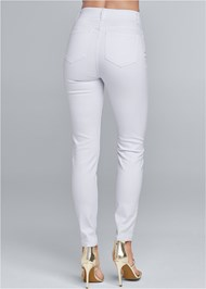 Back View Elastic Waistband Jeans