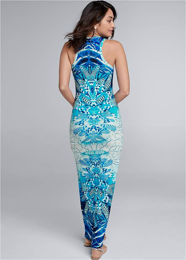 Back View Ruched Printed Maxi Dress