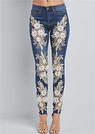 Front View Floral Applique Skinny Jean