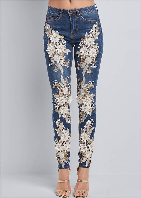 Front View Floral Applique Skinny Jeans