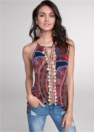 Front View Paisley Print Tassel Top