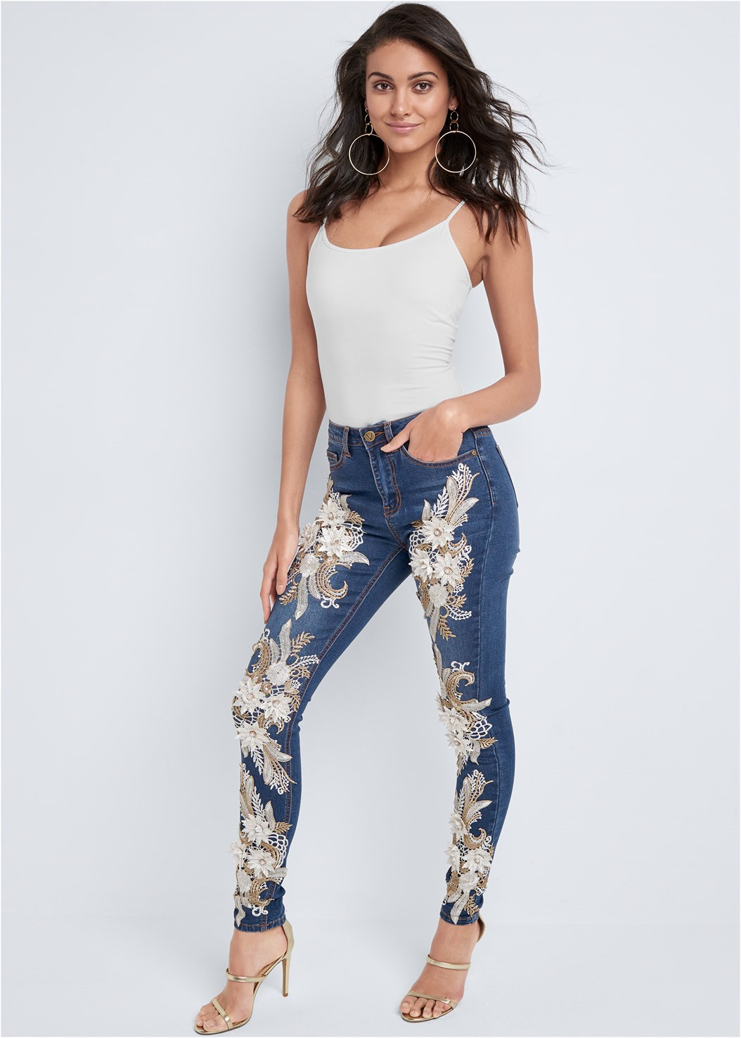 Floral Applique Skinny Jean,Basic Cami Two Pack,High Heel Strappy Sandals