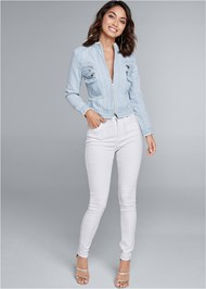 Full front view Cropped Denim Moto Jacket