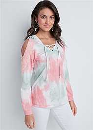 Cropped front view Eyelet Cold Shoulder Hoodie
