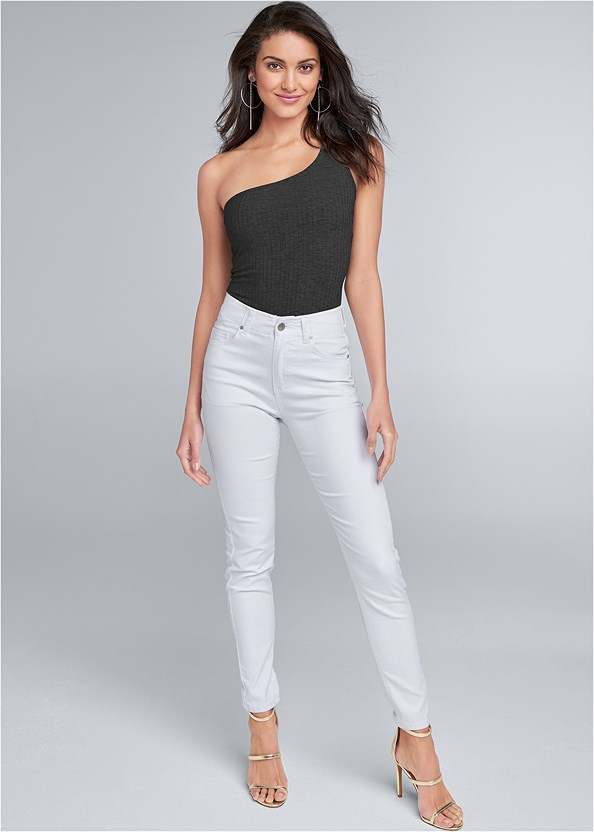 Elastic Waistband Jeans,Ribbed One Shoulder Top,Strapless Bra,High Heel Strappy Sandals